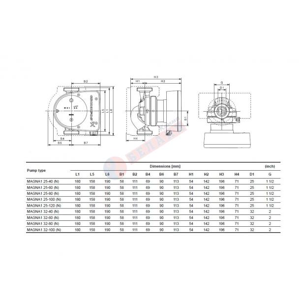 Циркулационна помпа Grundfos Magna1 32-60, 180мм, PN10