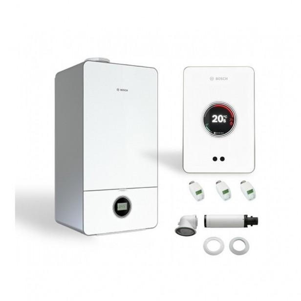 Двуконтурен газов котел Bosch Condens 7000iW 20/24 C 23+CT200+3термоглави (бял)